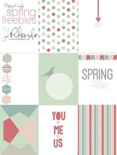 FREE Printables:  Project Life Fridays | Spring filler/journal cards | RhondaSteed.com