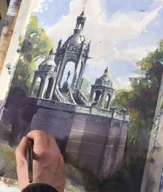 Watercolor Art Lessons, Watercolor Video, Watercolor Pictures, Watercolor Landscape Paintings, Watercolor Scenery, Watercolour, Watercolor Portrait Tutorial, Watercolor Architecture, Art Painting Gallery