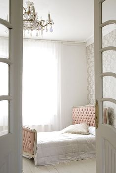 Blush - for my bedroom I could eventually make a headboard like this and then instead of a footboard I'd do a bench in the same colour. The white quilt I'm working on would be perfect! Same curtains as the other room. In the mean time I have a brass bed but I still think that would be fine. Then if the rest of the furniture is mostly white or cream it would be very pretty :)