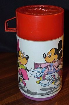 Vintage Aladdin Mickey and Minnie Thermo Bottle #Aladdin