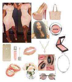 """Peach ass "" by bdoughbdough ❤ liked on Polyvore featuring Christian Louboutin, Straw Studios, NYX, Sonix, Lancôme, Ruby Rocks, Jouer, Linda Farrow, Martick and Roberto Coin"
