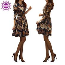 2015 Women Elegant Flower Print Dress With Belt Long Sleeve Plus Size Office Dress Casual Spring Autumn Lady Vestidos  From plonlineventures.com At Your Aliexpress link