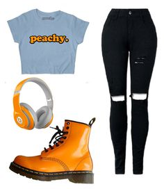"""Peachy."" by panicatthesocialevent ❤ liked on Polyvore featuring Dr. Martens and Beats by Dr. Dre"