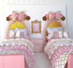 Two beds American girl doll bedroom set 18 doll bed by Head2Heart
