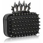 "Womens Punk Studded Kuckle Ring Hard Cased Evening Clutch Bag (7"" x 4 with PreciousBags Dust Bag"