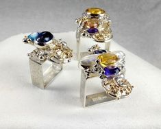 Original Handmade by Artist Designer Maker Square Rings Peridot, Amethyst, Jewelry Art, Jewelry Design, Square Rings, Green Tourmaline, Gold Wire, Contemporary Jewellery, 14 Karat Gold