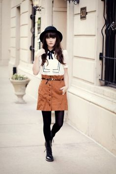 H&M Hat, Romwe Shirt With Bow, Was My Great Grandmas Black Vintage Belt, Urban Orange Skirt, Tights, Dr. Martens Docs