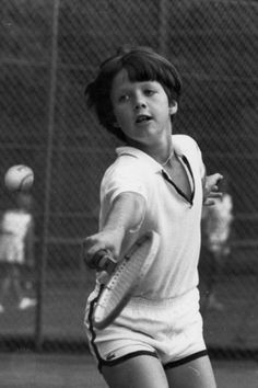 The Crown Prince playing tennis at Marselisborg Castle in 1981.