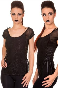 Day Tripper Cobweb Lace Black Gothic Top by Banned. Up to XL.