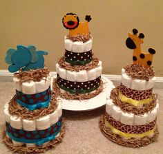 2 tier Jungle Safari Diaper Cakes for Baby Shower Centerpiece or New Baby Gift