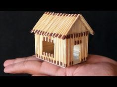 cardboard house for kids project great how to make a match house with different idea very easy of cardboard house for kids project Popsicle Stick Houses, Popsicle Stick Crafts, Craft Stick Crafts, Cardboard Houses For Kids, Cardboard Design, Diy Home Crafts, Arts And Crafts, Toothpick Crafts, Matchstick Craft