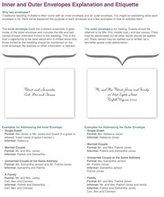 ever wonder why your wedding invitation comes with two envelopes? find out how to address your inner and outer envelope properly! Wedding Invitation Etiquette, Wedding Invitation Wording, Custom Invitations, Invitation Ideas, Envelope Addressing Etiquette, Addressing Envelopes, Wedding Stationery Sets, Wedding Envelopes, Envelope Writing