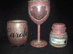 Diy Glasses, Glitter Wine Glasses, Decorated Wine Glasses, Decorated Bottles, Bling Bottles, Wedding Glasses, Girls With Glasses, Love Heart, Handmade Items