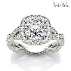 DIAMOND ENGAGEMENT RINGS - Cushion Halo 1.33cttw Diamond Engagement Ring With Crossed Shank