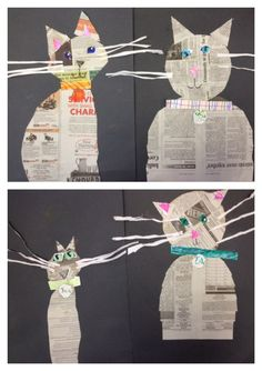 Kindergarten made kitty cats from newspaper. - Kindergarten made kitty cats from newspaper. Kindergarten made kitty cats from newspaper. Club D'art, Art Club, Newspaper Collage, Newspaper Crafts, Collage Art, Splat Le Chat, Journal D'art, Arte Elemental, Classe D'art