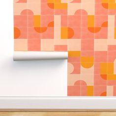 Retro Wallpaper, Home Wallpaper, Custom Wallpaper, Wallpaper Roll, Pattern Wallpaper, Retro Tile, Vintage Tile, Yellow Tile, Retro Bathrooms