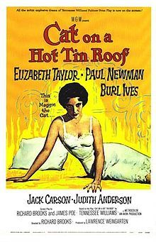 A great movie poster from Cat On A Hot Tin Roof - the film adaptation of Tennessee Williams' play. Starring Elizabeth Taylor and Paul Newman. Old Movie Posters, Classic Movie Posters, Cinema Posters, Classic Films, Film Posters, Vintage Cartoons, Vintage Films, Vintage Posters, Retro Vintage