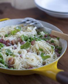 """Angel Hair with Pancetta and Peas from """"Michael Symon's 5 in 5: 5 Fresh Ingredients + 5 Minutes = 120 Fantastic Dinners""""  (KitchenDaily.com)"""
