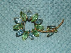 Vintage Brooch Flower Blue & Peridot Summer Brooch 1970s