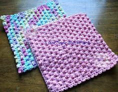 Berry stitch crochet washcloth block pattern from Homemade Hats by Cheryl