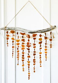 Amber Brown Sea Glass Mobile / Wall Hanging / by SeaAndGlassOnEtsy, $190.00