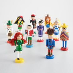 Adorn your tree with whimsical guests from around the globe with our handcrafted nutcracker ornaments. Packaged in two sets of five, one includes a quintet of girls from Holland, Ireland, America, Mexico and Japan, while the other contains Scottish, Mexican, German, Eskimo and Russian boys. Nutcracker Ornaments, Russian Boys, Nutcrackers, Holland, Boy Or Girl, Globe, Whimsical, German, Mexico