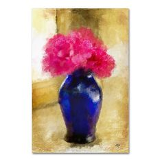 "Trademark Art 'Pink Carnations in Cobalt Blue Vase' by Lois Bryan Painting Print on Wrapped Canvas Size: 47"" H x 30"" W x 2"" D"