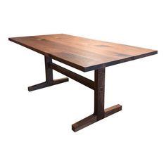 Custom Trestle Dining Table in Black Walnut