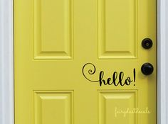 Hello Decal Front Door Greeting Wall Decal by FairyDustDecals