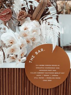 Modern, circular bar sign in an earthy bronze hue for monochromatic or desert inspired wedding Lilac Wedding, Floral Wedding, Wedding Bouquets, Our Wedding, Wedding Flowers, Dream Wedding, Rustic Wedding, Wedding Stationary, Wedding Invitations