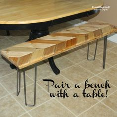 Chevron Bench with Hairpin Legs! Pair a bench with a dining room table!