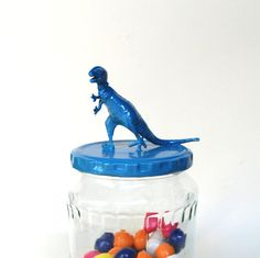 Teal Dinosaur Storage Jar by TonysDinostore on Etsy