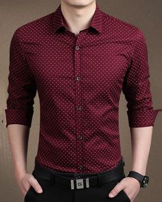 New 2016 Men's Shirts men Casual slim fit designer Print Camisa red/kh – liligla Rugged Style, Style Men, Preppy Style, Men's Style, Casual Shirts For Men, Men Casual, Casual Menswear, Smart Casual, Gilet Costume