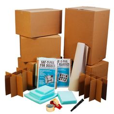 Like the finer things in life such as Fine China and Crystal?  Large Kitchen China Boxes with Glass Savor and Dish Pack Kits will help protect your fine dishes when you move.  Our larger kit is assembled with foam protectors, box inserts and all the boxes you need to pack your glasses.