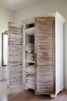 Brilliant: Add vintage Shutters to a bookcase. We did this to make a food pantry at one time. I must say I LOVE this tip. Because it hides the clutter, and can be use in any room in the house. Plus, it was very cheap to make that we now have 3 of them (gu