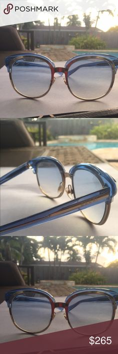 Gucci Eyyst Sunglasses Gucci blue and gold framed shades. They have blue lenses as well. The material is both plastic and metal. NWOT 100% Authentic Gucci Accessories Glasses