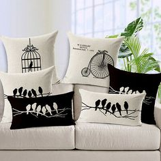 Bird Cushion Covers For Sofa Capa De Almofadas Vintage Decorative Throw Pillow Covers Pillow Massager Home Decor Cojin Funda Diy Pillows, Linen Pillows, Cushions On Sofa, Fabric Sofa, Printed Cushions, Printed Linen, Sofa Chair, Cushion Cover Designs, Cushion Covers