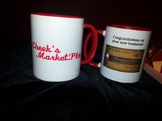 Custom coffee mugs.  Clients logo on one side with your logo on the other with a note saying Thank You for your businessl      Contact us for details.