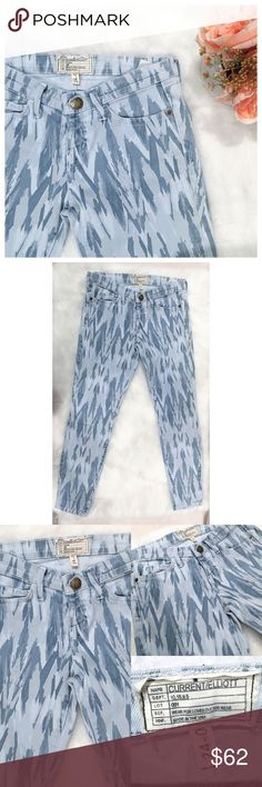 """•Current/Elliot Sky Blue Stiletto Jeans• The Stiletto Sky Blue Design Jeans.   →Color: """"Sky Blue""""  →Size: 24 →Worn 1x →Cropped at the ankle.  →No trades(comments will politely be ignored). →10% off 2+ items  Current/Elliott Jeans Ankle & Cropped"""