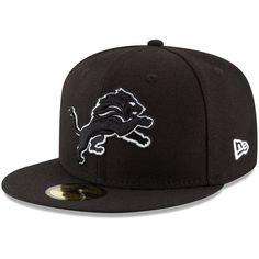 Men's New Era Black Detroit Lions B-Dub 59FIFTY Fitted Hat