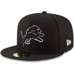 e3edf1c04a3 Men s New Era Black Detroit Lions B-Dub 59FIFTY Fitted Hat
