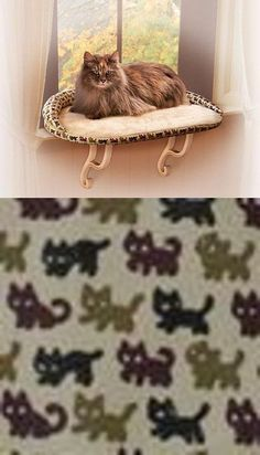 Beds 66762: Kh Mfg Kitty Sill Deluxe Cat Pet Window Perch Seat Bed Tan Kitty Print Kh3097 BUY IT NOW ONLY: $33.95