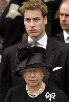 Prince William and his grandmother Queen Elizabeth II, during the Queen Mother's funeral. April 9th, 2002.
