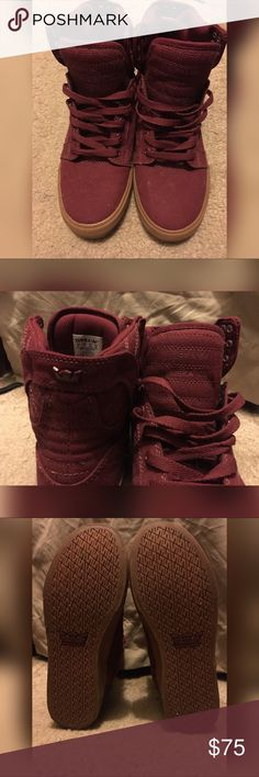 2622c59c5734 Mens Supra Muska 001 sz 8 Barely used Worn once Size 8 Maroon Have hidden  pocket on lip Supra Shoes Sneakers