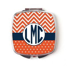Monogram Compact Mirror Monogram Gift for Her Orange Navy Pattern ($12) ❤ liked on Polyvore featuring beauty products, beauty accessories, bath & beauty, grey, hand & pocket mirrors, makeup & cosmetics and makeup tools & brushes