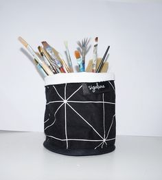 Soft Pot Fabric Bucket Geometric Black and white Soft Pot Fabric Bucket 100% Cotton fabric Nordic design Scandinavian style Free Shipping by Sigaluna on Etsy