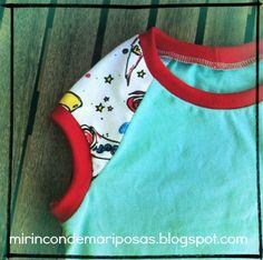 mi rincón de mariposas: Cómo coser cuellos de camiseta (y sisas y demás usando tela de puños)