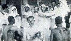 Volunteer Turkish nurses helping to heal the wounded soldiers in World War I, 1914.