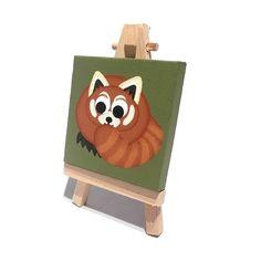 Red Panda Original Mini Painting - cute acrylic art on miniature canvas Panda Art, Red Panda, Wooden Easel, Square Canvas, Mini Canvas, Mini Paintings, Color Names, Acrylic Art, Pet Shop