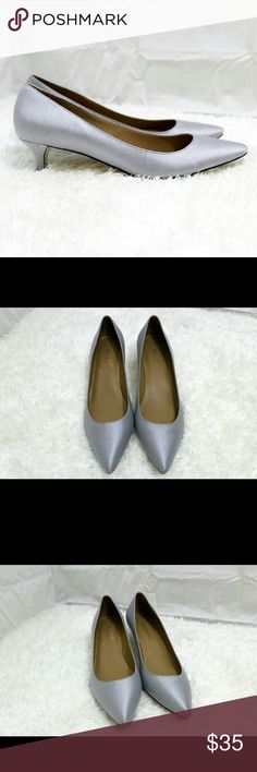👠 Talbots Grey Silk Kitten Heels 🎀 Gently Used 🎀 The silk is pretty in person and the style is great for work/ interview/ office.  -Leather lining with smooth leather soles.  #officeattire #officeshoes #kittenheelpumps #workattire #classic #classy   🎀 Reasonable offers are welcomed 🎀 Make a bundle and save more on shipping  🎀 Find me on Vinted with a lower price  🚫 No trades Talbots Shoes Heels